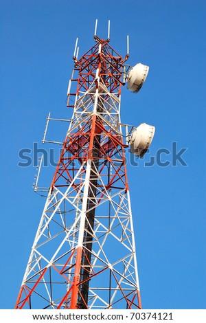 Antenna with blue sky - stock photo