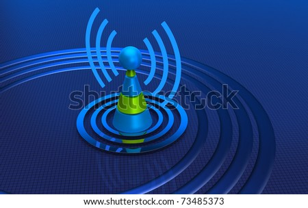 Antenna with radio waves over blue background - stock photo