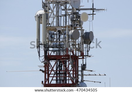Antennas and telecom equipment on a steel communications tower