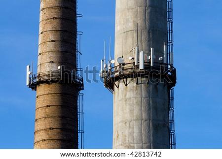 Antennas mobile connection - stock photo