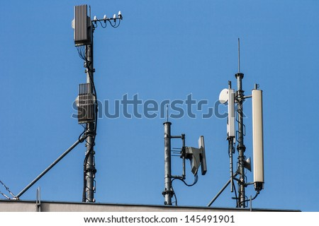 Antennas of cellular and communication systems  - stock photo