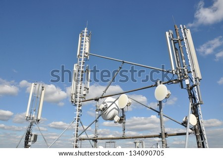 Antennas of cellular systems - stock photo