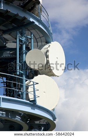antennes high in the mountains - stock photo