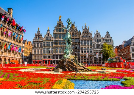 ANTEWERP, BELGIUM - JUN 5, 2015: City Hall on the main square in Antwerp, Belgium. Antwerp is the capital of Antwerp province and the most populous city in Belgium - stock photo
