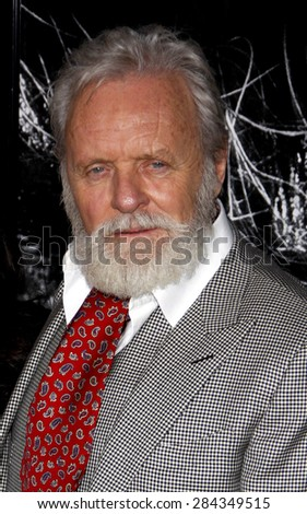 Anthony Hopkins at the Los Angeles premiere of 'The Wolfman' held at the ArcLight Cinemas in Hollywood on February 28, 2010.  - stock photo