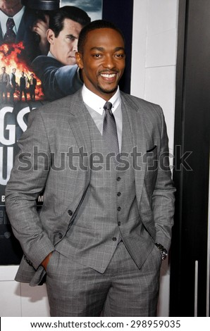 Anthony Mackie at the Los Angeles premiere of 'Gangster Squad' held at the Grauman's Chinese Theatre in Hollywood on January 7, 2013.   - stock photo