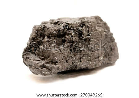 anthracite coal sample on a white background - stock photo