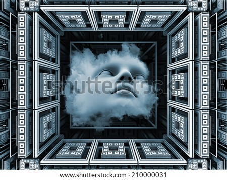 Anthropocentric series. Backdrop composed of human face and design elements and suitable for use in the projects on technology, science, education and human mind - stock photo