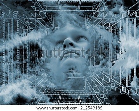 Anthropocentric series. Backdrop of human face and design elements on the subject of technology, science, education and human mind - stock photo