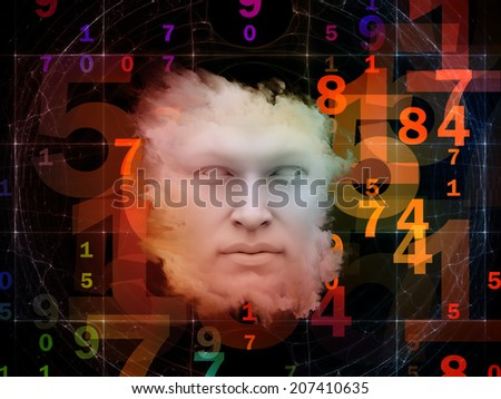 Anthropocentric series. Background design of human face and design elements on the subject of technology, science, education and human mind - stock photo