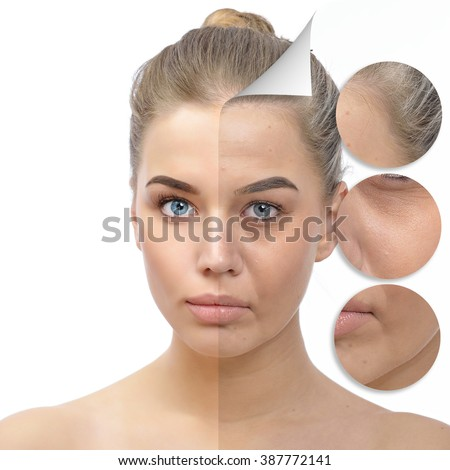 Anti-aging concept. Beautiful woman with problem and clean skin. Aging and youth concept, beauty treatment, cosmetology, lifting. Female face befor and after facial rejuvenation or plastic surgery. - stock photo