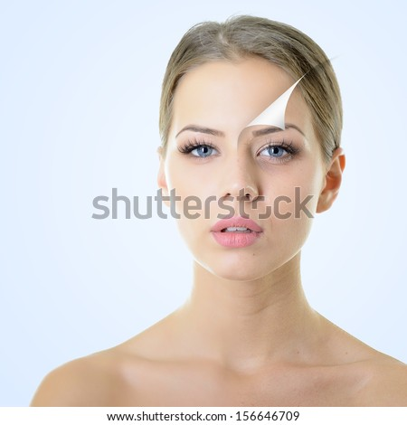 anti-aging concept, portrait of beautiful woman with problem and clean skin, aging and youth concept, beauty treatment - stock photo