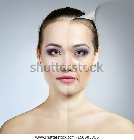 Anti-aging concept. Portrait of beautiful woman with problem and clean skin. Aging and youth concept, beauty treatment. - stock photo