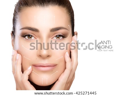 Anti aging treatment and plastic surgery concept. Beautiful young woman with hands on cheeks in a beauty, skincare and spa concepts. Perfect skin. Portrait isolated on white with copy space for text. - stock photo