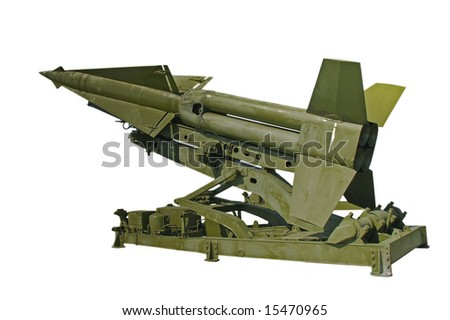 Anti aircraft missile, Nike Hercules, isolated on white - stock photo