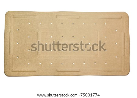 Anti-fungal, slip resistant rubber bath mat isolated on white - stock photo