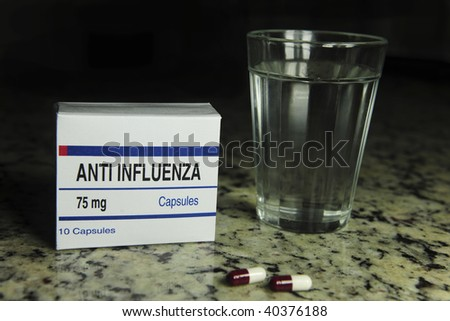Anti influenza (This pill package is fake, I created it for these photos) - stock photo