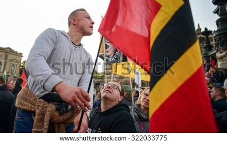 Anti-Islamization Protests in Dresden, Germany. September 28, 2015 - stock photo