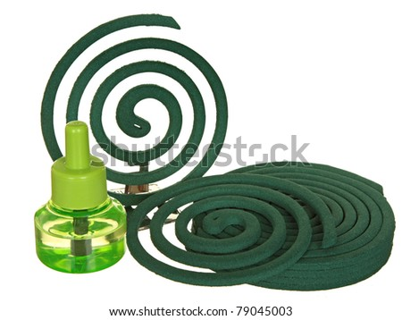 Anti-mosquito fumigator a liquid and a spiral from mosquitoes - stock photo
