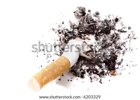 Anti-smoking campaign design: cigarette butt - stock photo