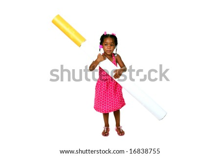 anti-smoking concept a baby girl struggles with a giant cigarette - stock photo