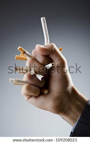 Anti smoking concept with man - stock photo