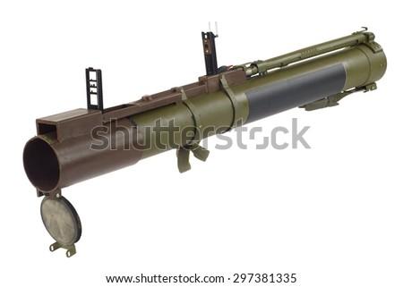 "anti-tank rocket propelled grenade launcher ""bazooka"" isolated on white - stock photo"