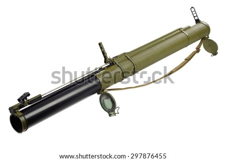 anti-tank rocket propelled grenade launcher isolated on white - stock photo