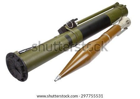 anti-tank rocket propelled grenade launcher with HEAT grenade isolated on white - stock photo