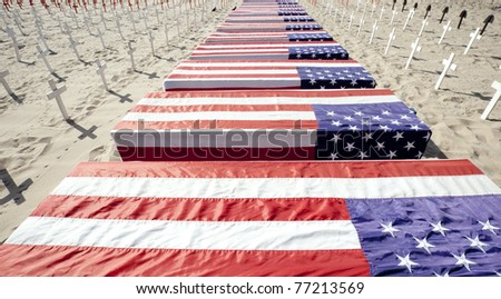 Anti-war protest on Santa Monica beach April 2011. Over 4000 crosses representing americans killed in Afghanistan and Iraq. - stock photo