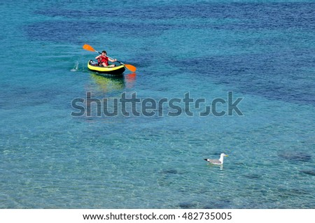 Antibes, France - april 15 2016 : a young boy in a kayak