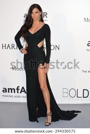 ANTIBES, FRANCE - MAY 21, 2015: Adriana Lima at the 2015 amfAR Cinema Against AIDS gala at the Hotel du Cap d'Antibes, as part of the 68th Festival de Cannes. - stock photo