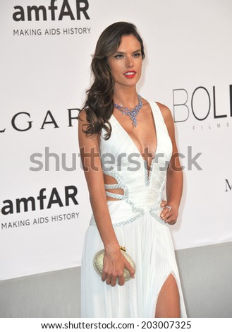 ANTIBES, FRANCE - MAY 22, 2014: Alessandra Ambrosio  at the 21st annual amfAR Cinema Against AIDS Gala at the Hotel du Cap d'Antibes.