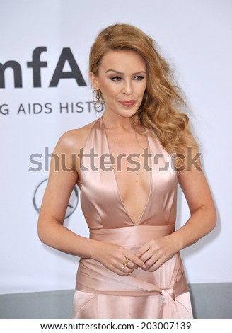 ANTIBES, FRANCE - MAY 22, 2014: Kylie Minogue  at the 21st annual amfAR Cinema Against AIDS Gala at the Hotel du Cap d'Antibes.