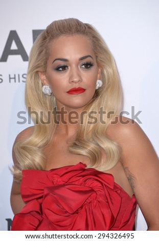 ANTIBES, FRANCE - MAY 21, 2015: Rita Ora at the 2015 amfAR Cinema Against AIDS gala at the Hotel du Cap d'Antibes, as part of the 68th Festival de Cannes. - stock photo