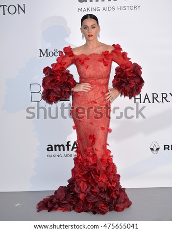 ANTIBES, FRANCE - MAY 19, 2016: Singer Katy Perry at the amfAR Cinema Against AIDS Gala 2016 at the Hotel du Cap d'Antibes.