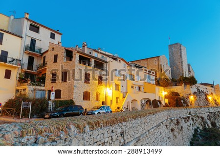 ANTIBES, FRANCE - NOVEMBER 3, 2014: Medieval fortress at night - stock photo