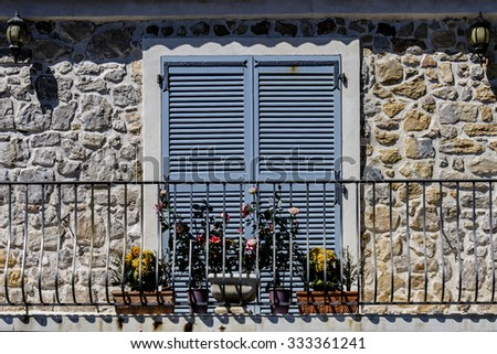 Antibes Old Town. Antibes is a resort town in the Alps-Maritimes department in southeastern France between Cannes and Nice, Cote d'Azur. Detail. - stock photo