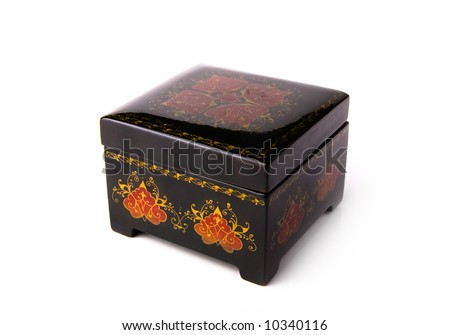 Antic Little black jewelery box isolated on white