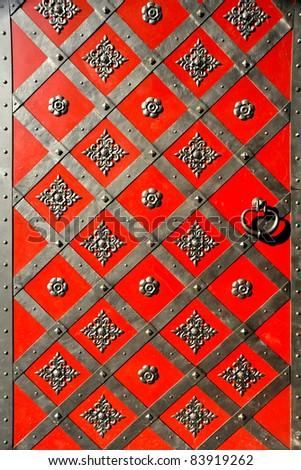 antient castle red vintage door - stock photo