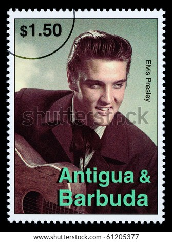 ANTIGUA & BARBUDA - CIRCA 2000: A postage stamp printed in Antigua showing Elvis Presley, circa 2000 - stock photo