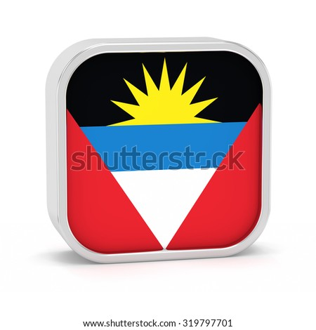 Antigua Barbuda flag sign on a white background. Part of a series. - stock photo