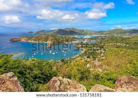 Antigua Bay, view from Shirely Heights, Antigua, West Indies, Caribbean - stock photo