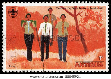 ANTIGUA - CIRCA 1977: A stamp printed in Antigua shows Caribbean Boy Scout Jamboree Jamaica, circa 1977 - stock photo