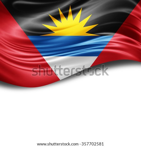 Antigua flag of silk with copyspace for your text or images and White background
