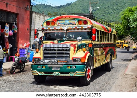 Antigua Guatemala - 24 June 2016 -  Local buses are colorful painted and decorated.