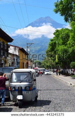 Antigua Guatemala - 26 June 2016 - Street view. Antigua is famous for Spanish school.