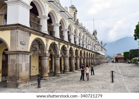 Antigua, Guatemala â?? May 30, 2015: Architectural details of colonial buildings in Antigua Guatemala, a UNESCO World Heritage Site founded in the 16th century.