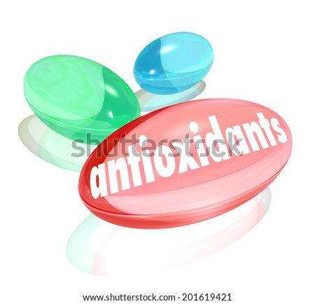 Antioxidants capusles pills nutritional supplements natural ingredients healthy lifestyle - stock photo