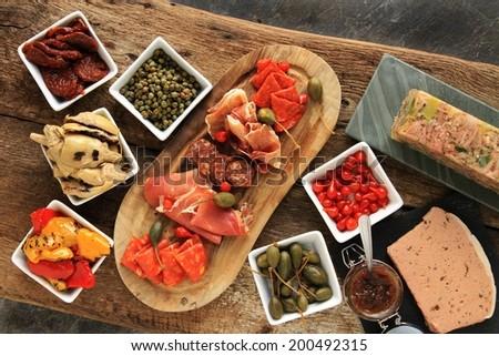 antipasto antipesto antipasta selection on table - stock photo